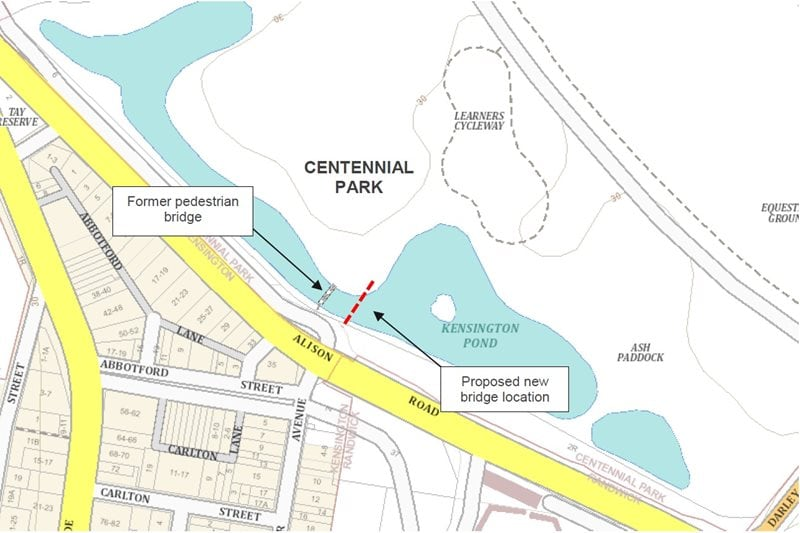 Figure 1: Location of new shared pedestrian footbridge over Kensington Pond.