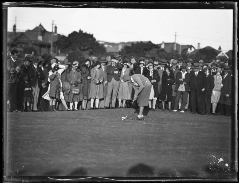 Golfer Miss Odette Lefebvre putting a golf NSW 1930