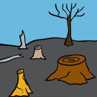 Comic of tree stumps