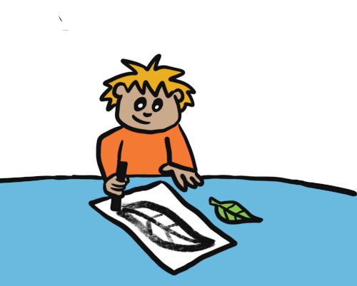 Boy drawing a leaf on with charcoal on a piece of paper