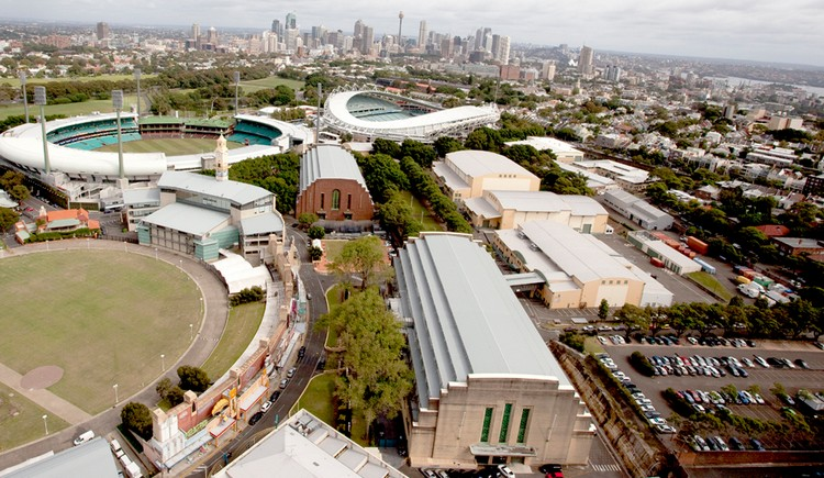 Fox Studios Australia (foreground) has become the largest professional film studio site in the southern hemisphere
