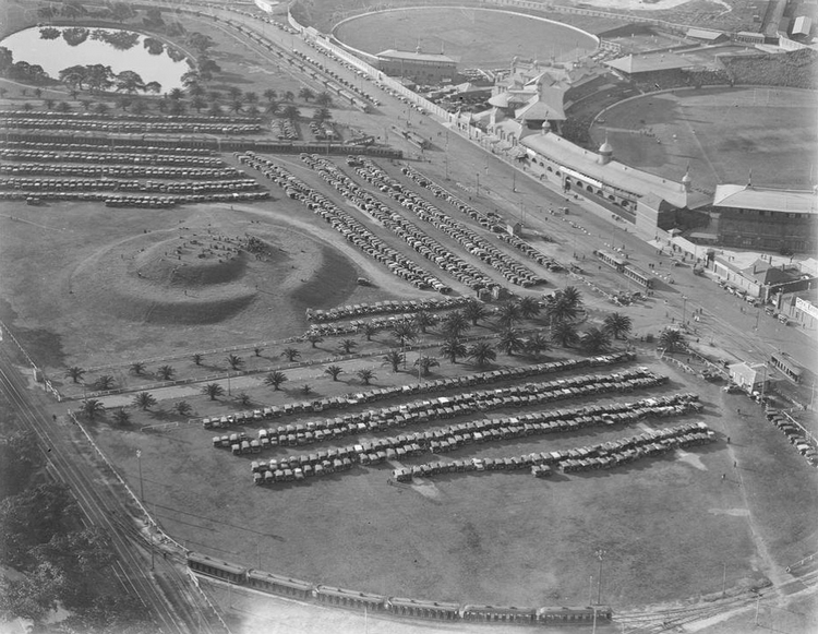 Aerial photo of Mt Lang, Moore Park (circa 1930s)