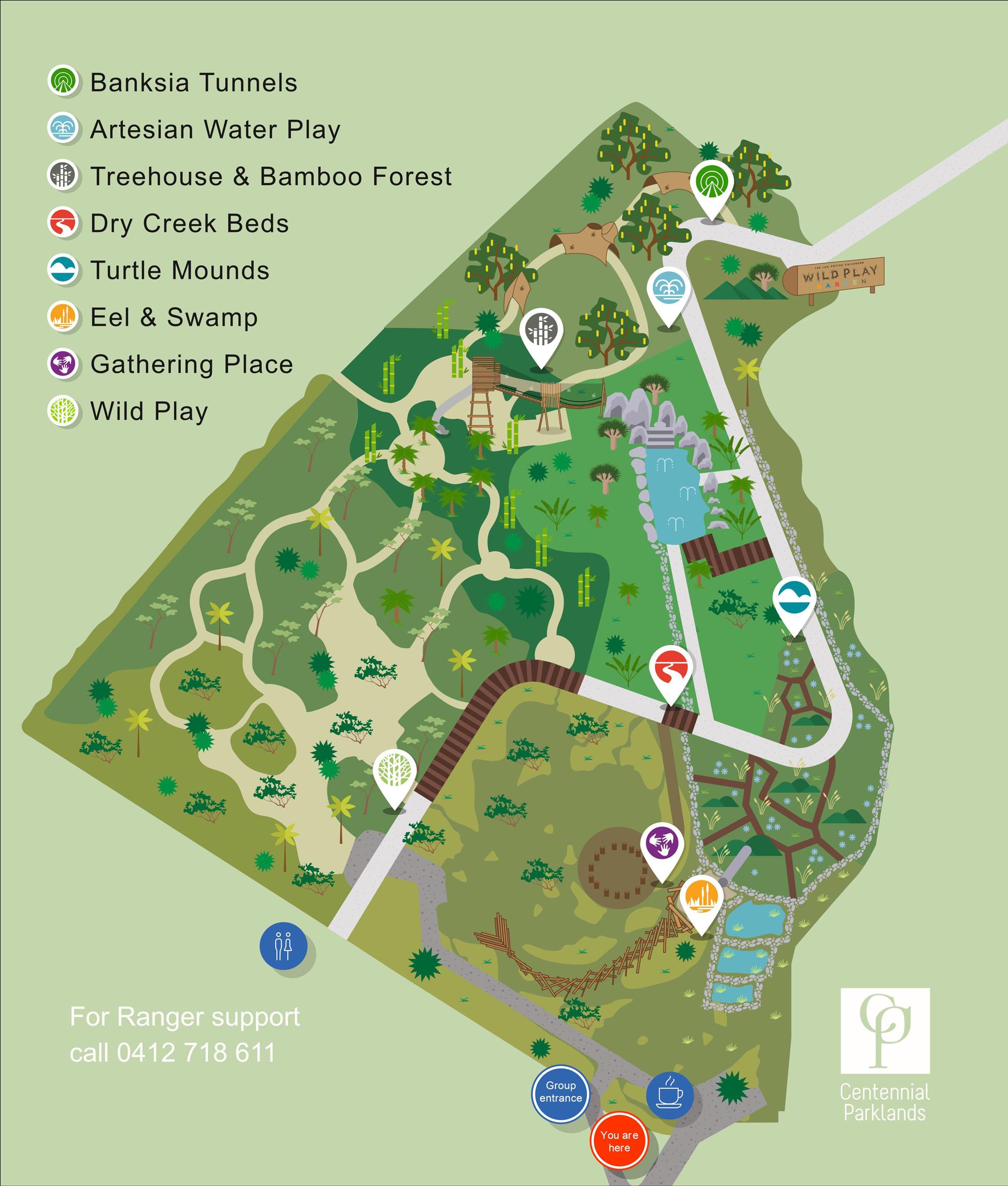 Map of The Ian Potter Children's WILD PLAY Garden
