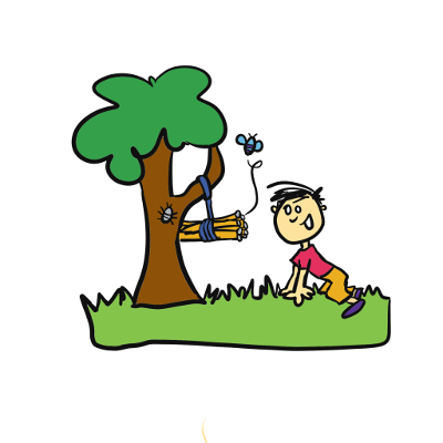 Illustration of boy looking at a bee hotel in a tree