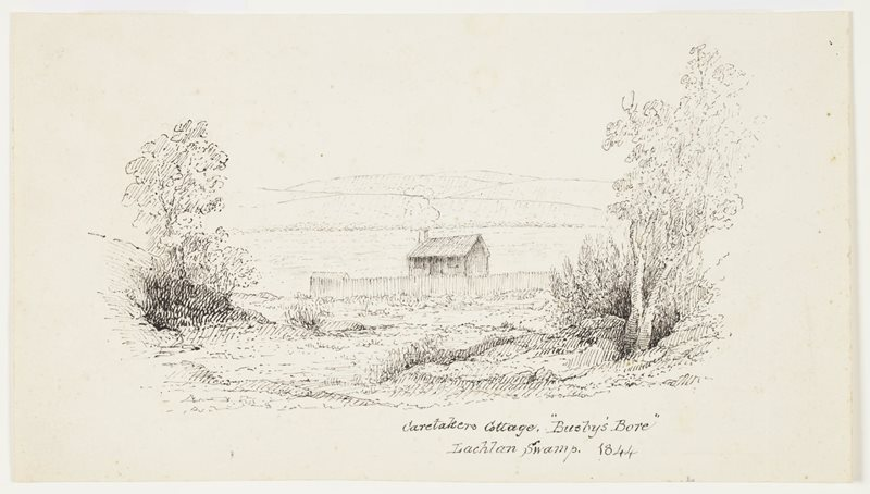 Caretakers Cottage, Busby's Bore, Lachlan Swamp 1844.jpg