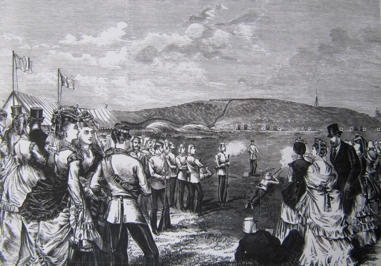 Etching of the military rifle range at (nowadays) Moore Park