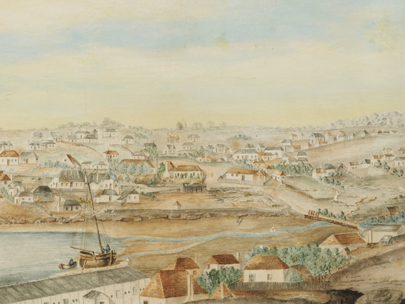 The mouth of the Tank Stream in Sydney Cove c1803