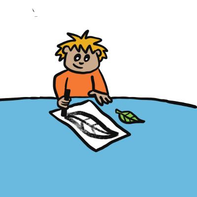 Illustration of boy drawing a leaf on paper