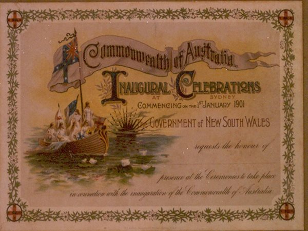 invitation to the innaguration of australia, sydney history, australia history, centennial park
