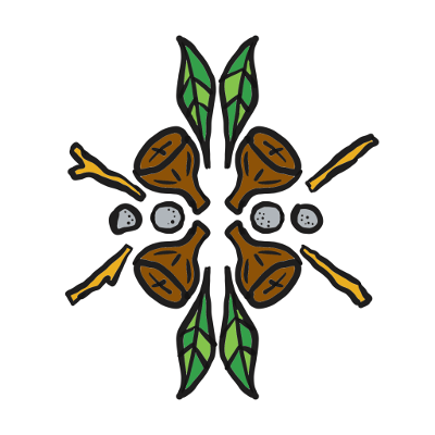 Illustration of gumnuts, leaves and sticks