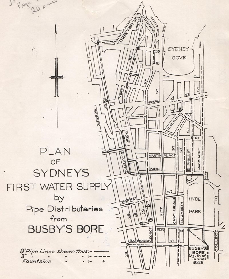 plan of sydney first water supply busby bore